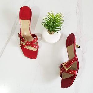 Stuart Weitzman Gold Studded Sandals Red Patent